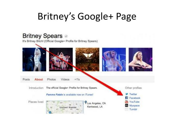 Britney's Google+ Page