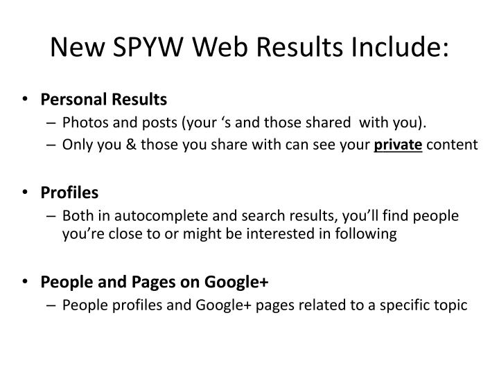 New SPYW Web Results Include: