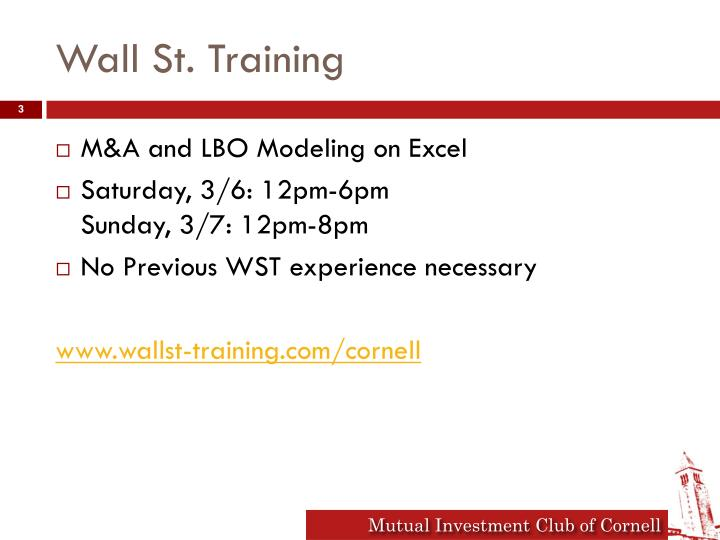 Wall st training