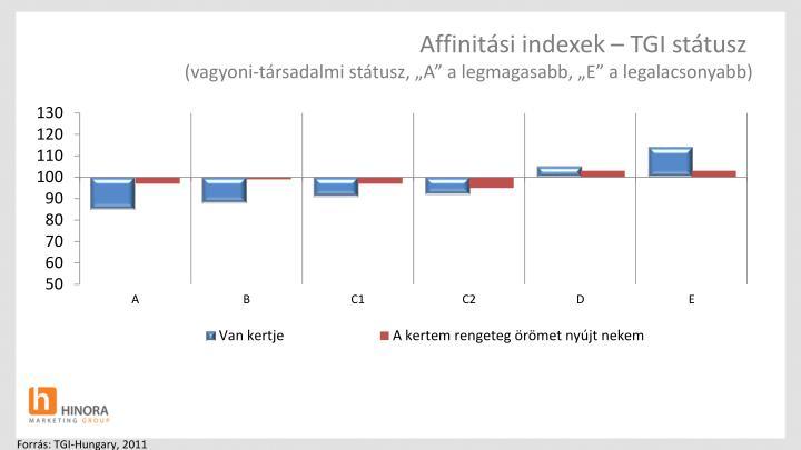 Affinitási indexek – TGI státusz