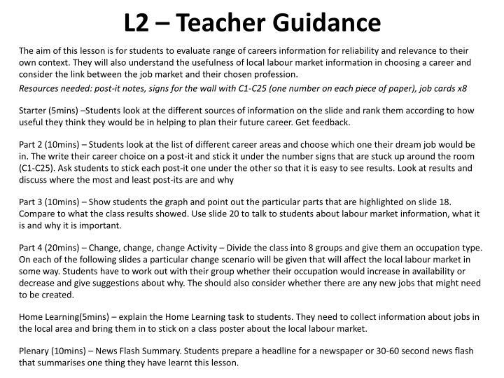 L2 – Teacher Guidance