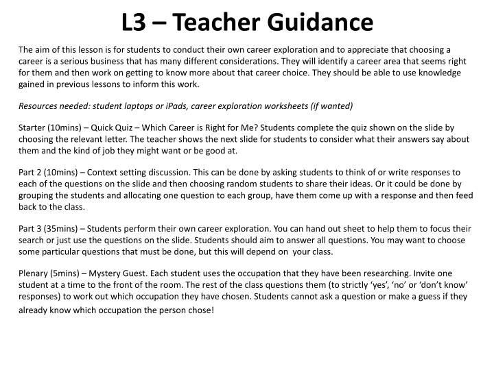 L3 – Teacher Guidance