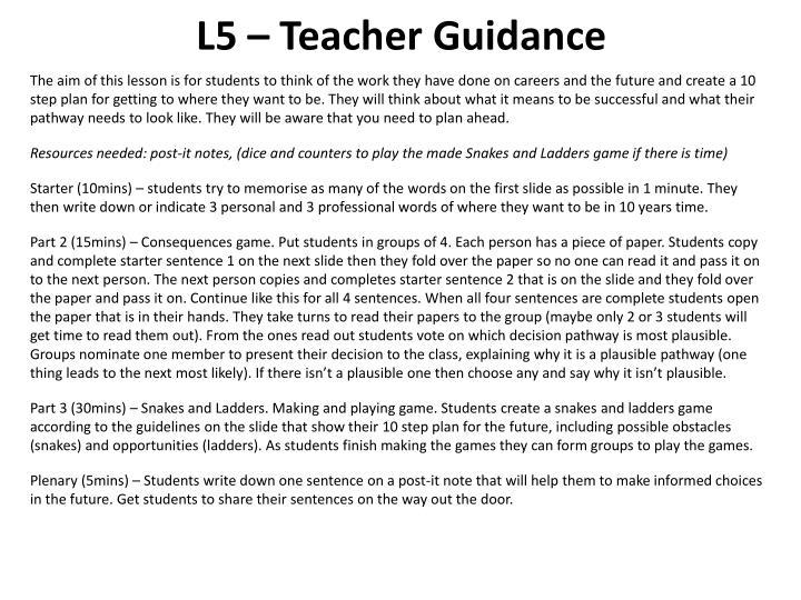 L5 – Teacher Guidance