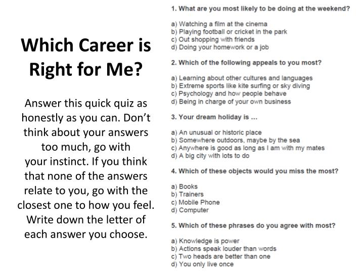 Which Career is Right for Me?
