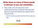 w rite down as many of those words or phrases as you can remember