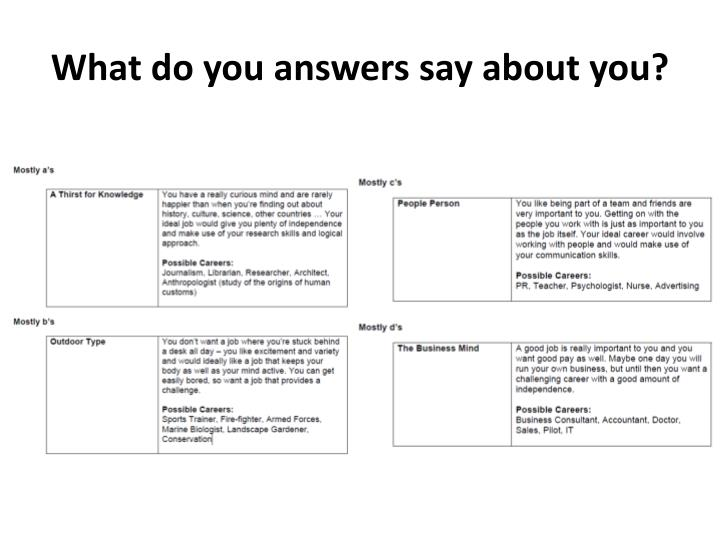 What do you answers say about you?
