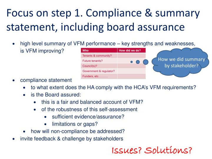 Focus on step 1. Compliance & summary statement, including board assurance