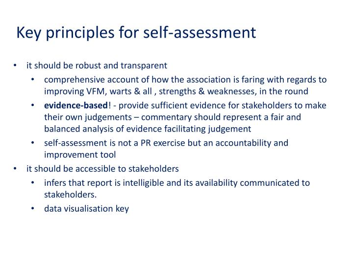 Key principles for self-assessment