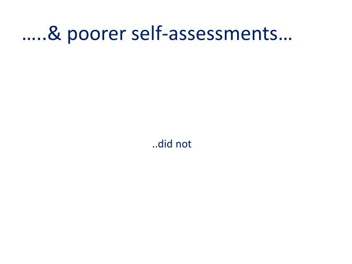 …..& poorer self-assessments…