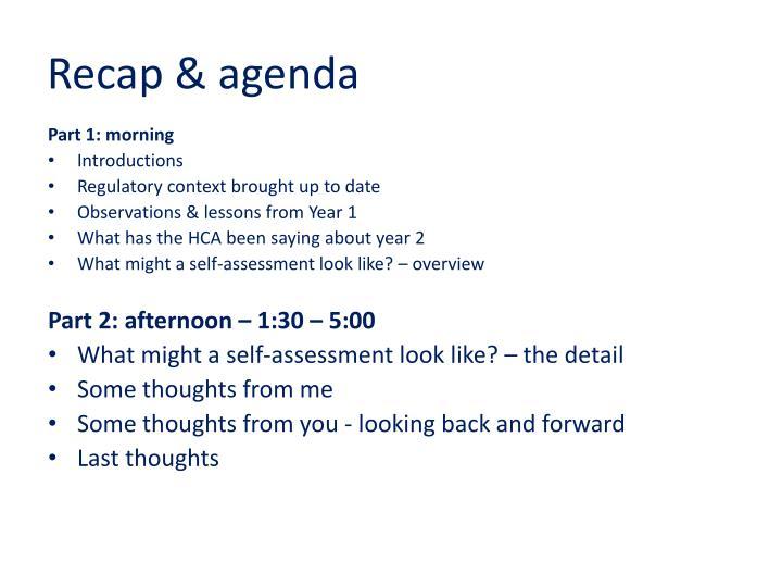 Recap & agenda