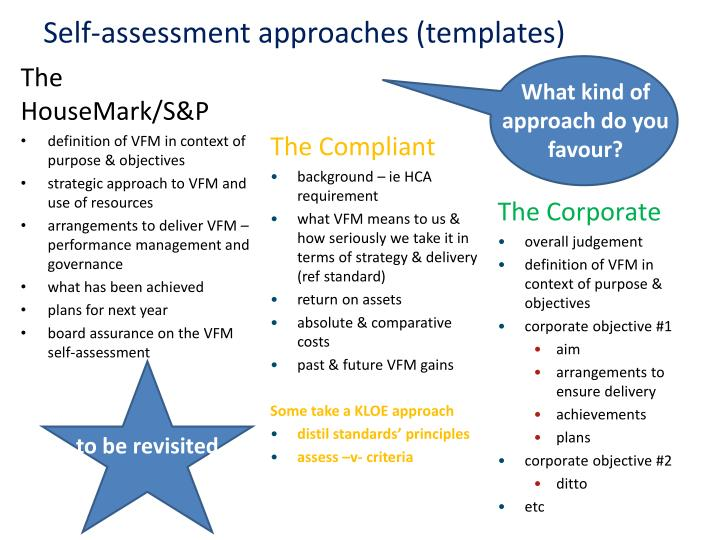 Self-assessment approaches (templates)