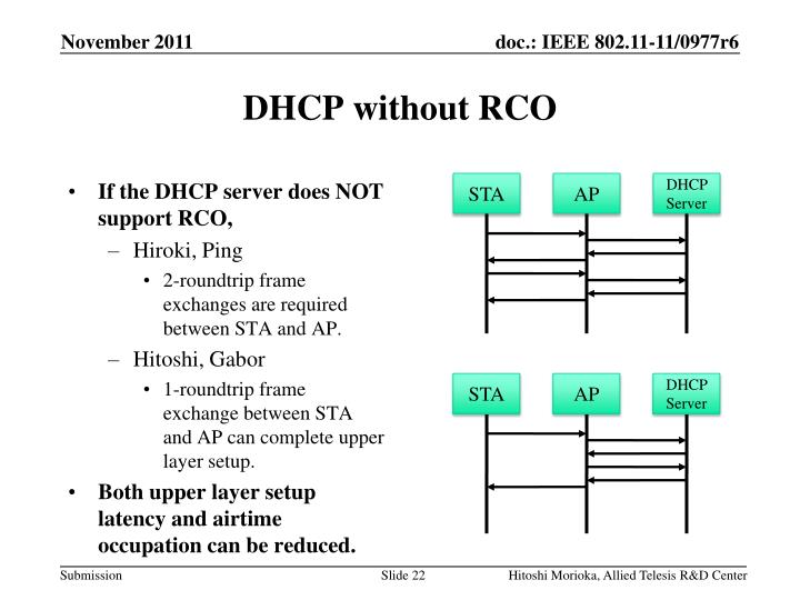 DHCP without RCO