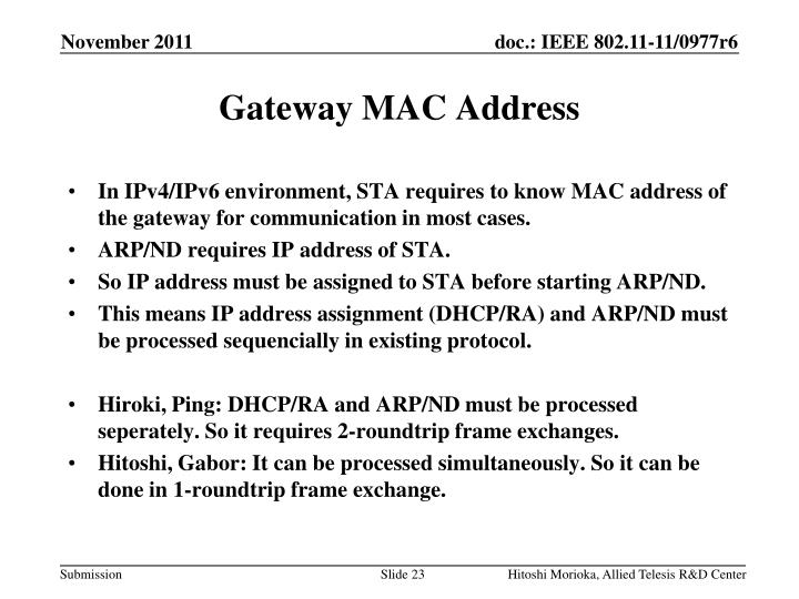 Gateway MAC Address