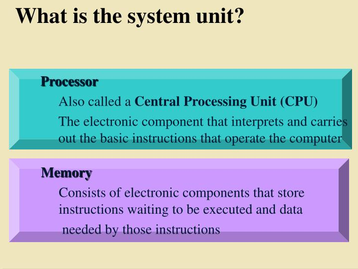 What is the system unit?