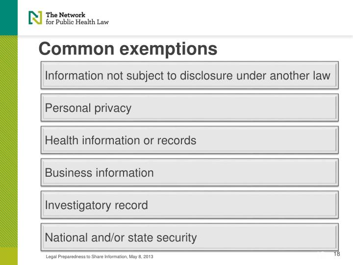 Information not subject to disclosure under another law