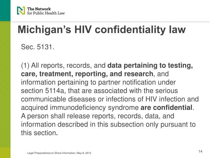 Michigan's HIV confidentiality law