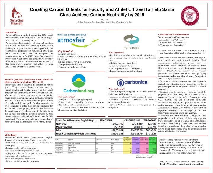Creating Carbon Offsets for Faculty and Athletic Travel to Help Santa Clara Achieve Carbon Neutrality by 2015