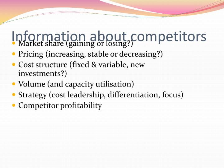 Information about competitors