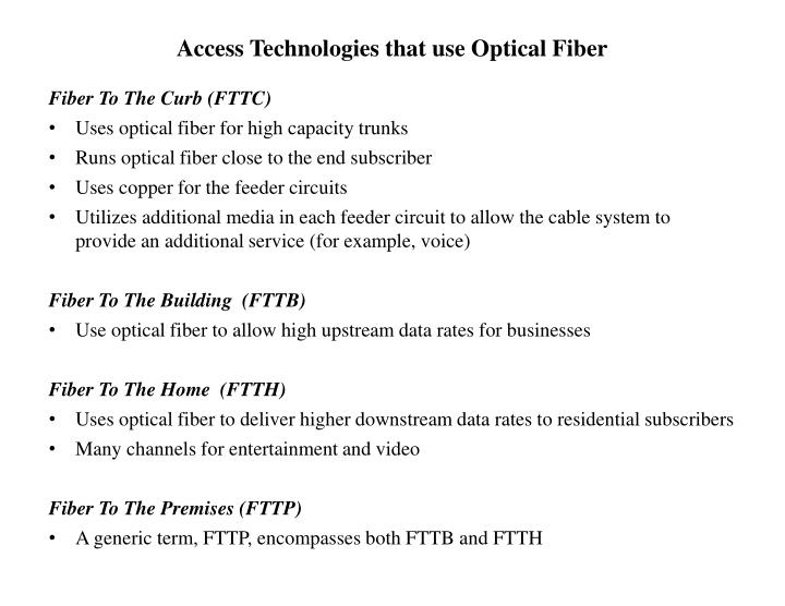 Access Technologies that use Optical Fiber