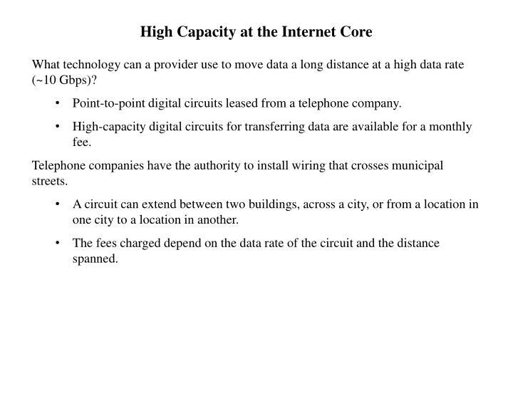 High Capacity at the