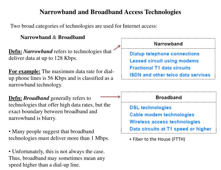 Narrowband and Broadband Access Technologies