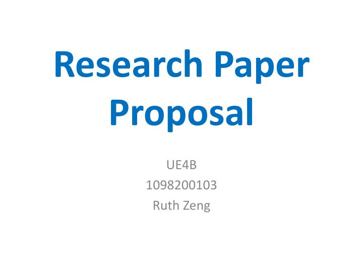 what a research paper proposal