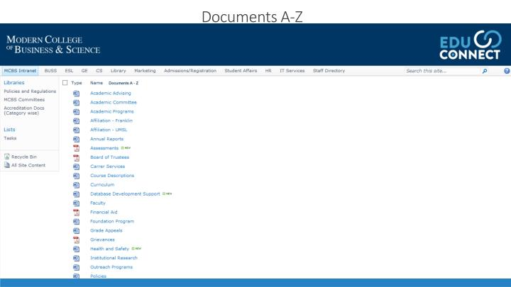 Documents A-Z