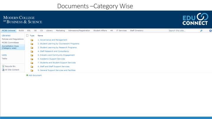Documents –Category Wise