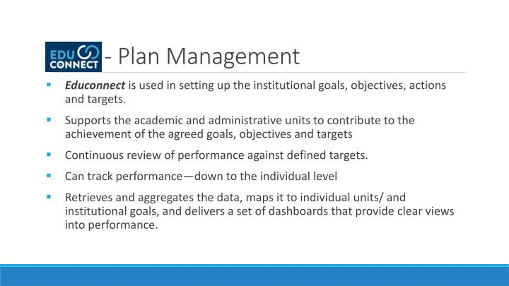 - Plan Management