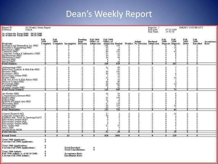 Dean's Weekly Report