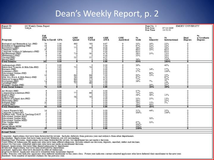 Dean's Weekly Report, p. 2