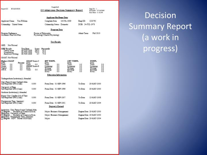 Decision Summary Report (a work in progress)