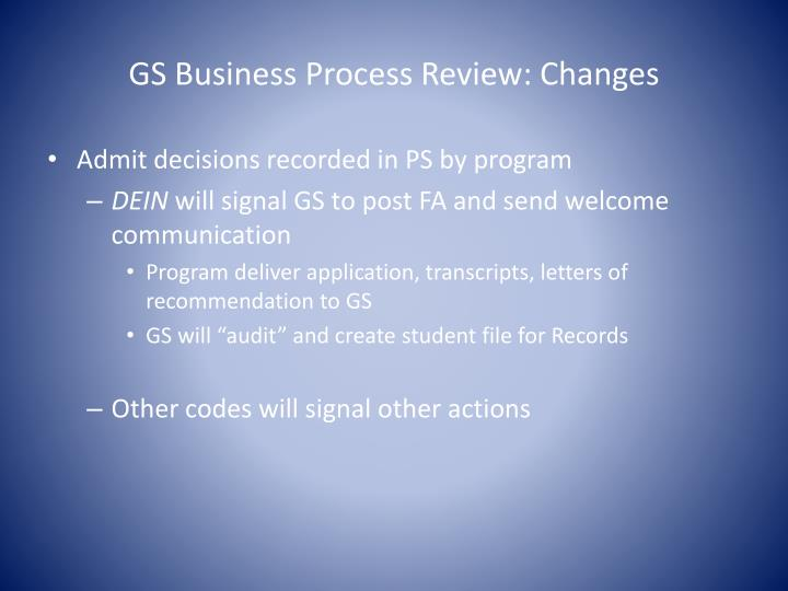 GS Business Process Review: Changes
