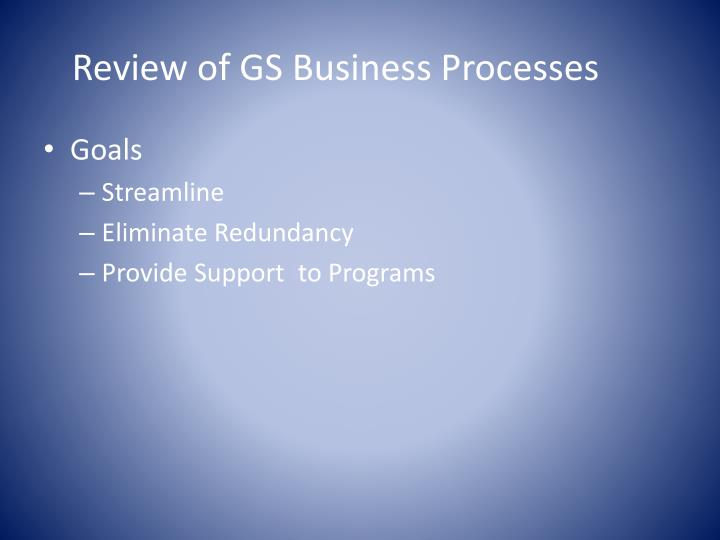 Review of GS Business Processes