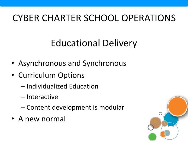 Cyber charter school operations educational delivery