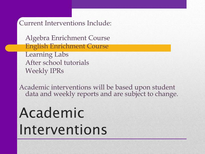 Current Interventions Include: