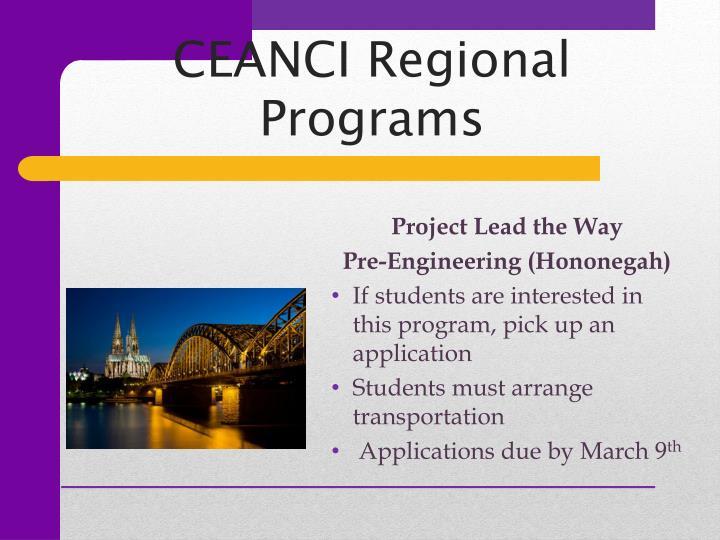 CEANCI Regional Programs