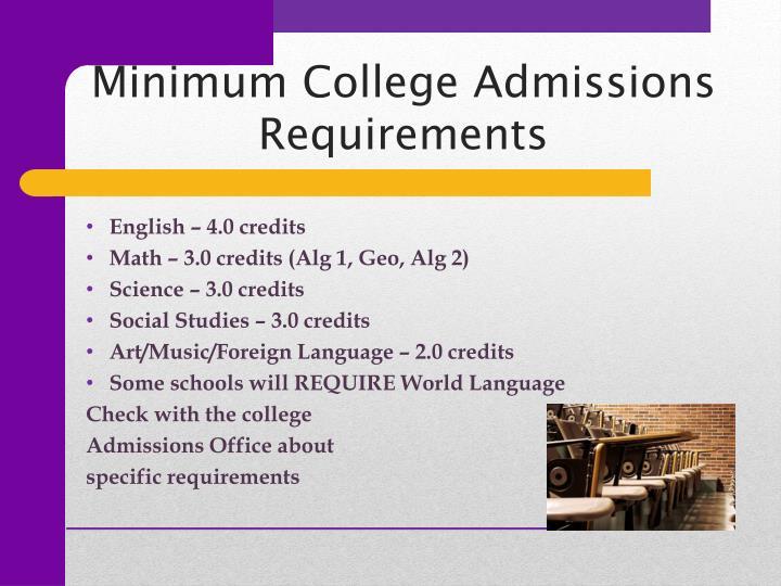 Minimum College Admissions Requirements