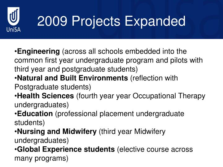 2009 Projects Expanded
