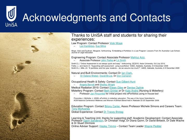 Acknowledgments and contacts