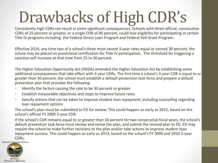 Drawbacks of High CDR's