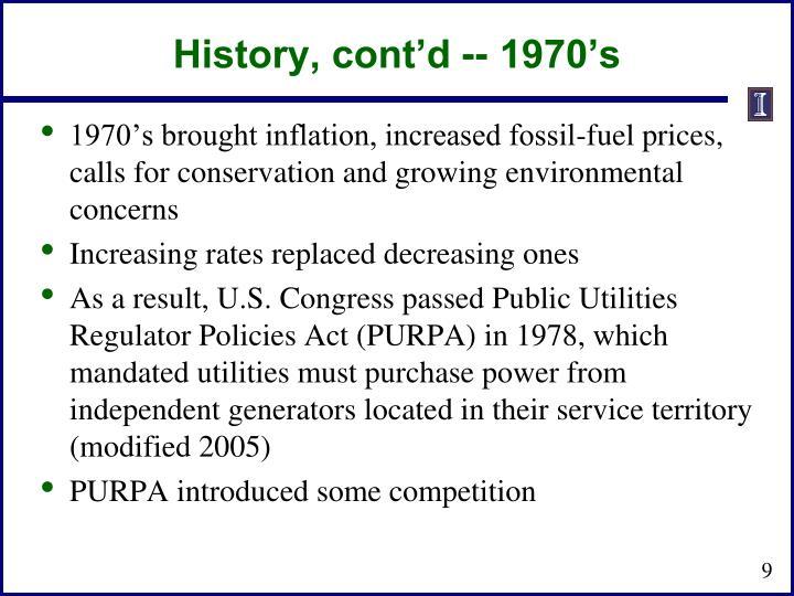 History, cont'd -- 1970's