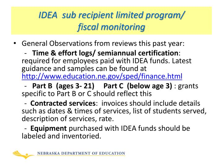 IDEA  sub recipient limited program/