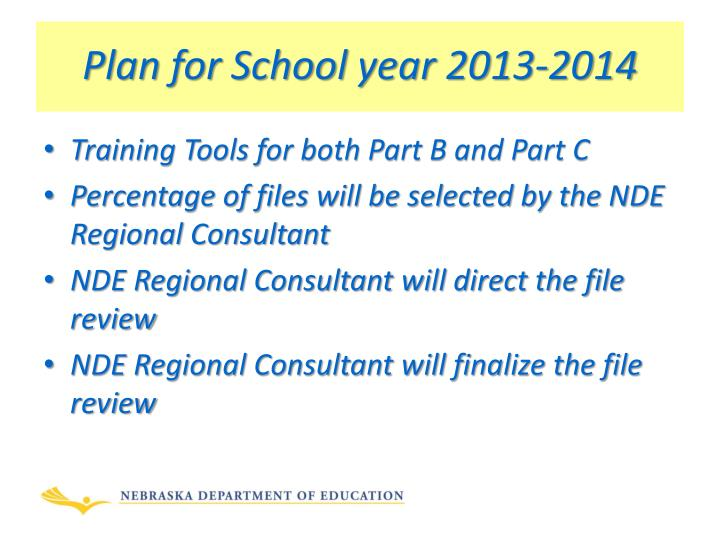 Plan for school year 2013 2014