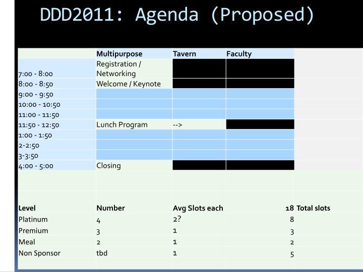 DDD2011: Agenda (Proposed)