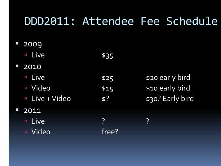 DDD2011: Attendee Fee Schedule