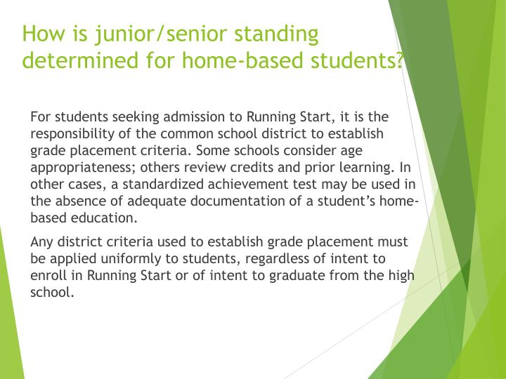 How is junior/senior standing