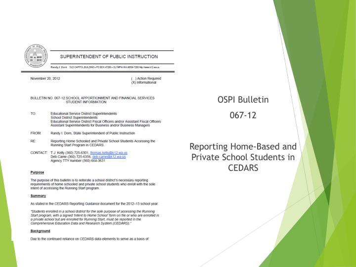 OSPI Bulletin