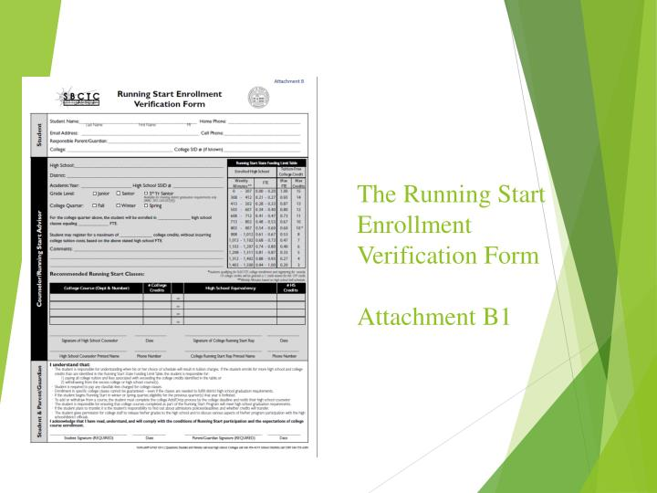 The Running Start Enrollment Verification Form