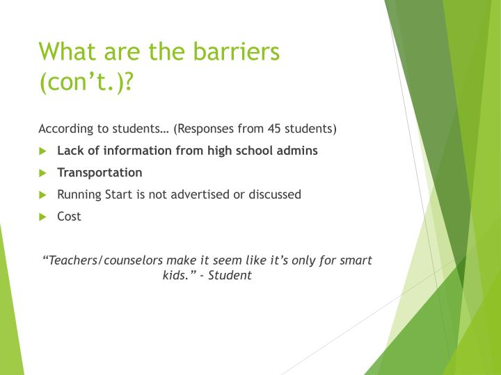 What are the barriers (